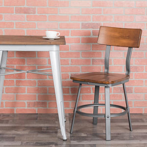 Invincible Series Silver Metal Restaurant Chair - Natural Wood Back & Seat