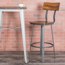 Load image into Gallery viewer, Flint Series Rustic Walnut Restaurant Barstool with Wood Seat & Back and Gray Powder Coat Frame