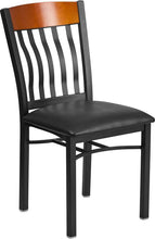 Load image into Gallery viewer, Eclipse Series Vertical Back Black Metal and Cherry Wood Restaurant Chair with Black Vinyl Seat