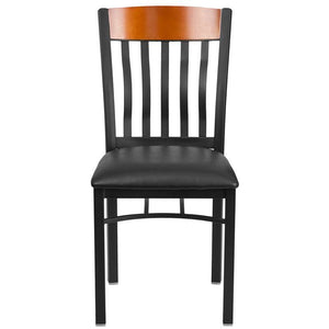 Eclipse Series Vertical Back Black Metal and Cherry Wood Restaurant Chair with Black Vinyl Seat