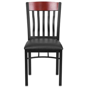 Eclipse Series Vertical Back Black Metal and Mahogany Wood Restaurant Chair with Black Vinyl Seat