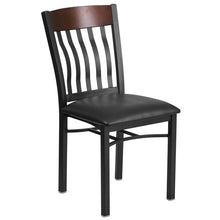 Load image into Gallery viewer, Eclipse Series Vertical Back Black Metal and Walnut Wood Restaurant Chair with Black Vinyl Seat