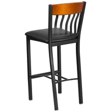 Load image into Gallery viewer, Eclipse Series Vertical Back Black Metal and Cherry Wood Restaurant Barstool with Black Vinyl Seat