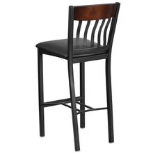 Load image into Gallery viewer, Eclipse Series Vertical Back Black Metal and Walnut Wood Restaurant Barstool with Black Vinyl Seat