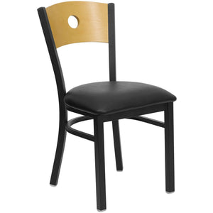 HERCULES Series Black Circle Back Metal Restaurant Chair - Natural Wood Back, Black Vinyl Seat