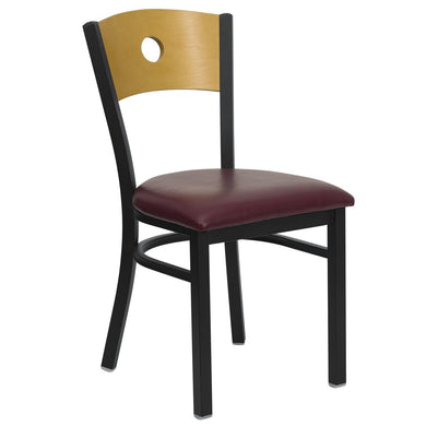 HERCULES Series Black Circle Back Metal Restaurant Chair - Natural Wood Back, Burgundy Vinyl Seat