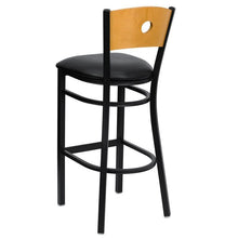 Load image into Gallery viewer, HERCULES Series Black Circle Back Metal Restaurant Barstool - Natural Wood Back, Black Vinyl Seat