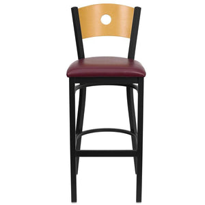 HERCULES Series Black Circle Back Metal Restaurant Barstool - Natural Wood Back, Burgundy Vinyl Seat