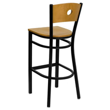 Load image into Gallery viewer, HERCULES Series Black Circle Back Metal Restaurant Barstool - Natural Wood Back & Seat