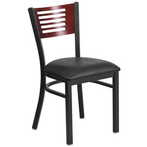 HERCULES Series Black Slat Back Metal Restaurant Chair - Mahogany Wood Back, Black Vinyl Seat