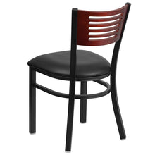 Load image into Gallery viewer, HERCULES Series Black Slat Back Metal Restaurant Chair - Mahogany Wood Back, Black Vinyl Seat