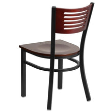 Load image into Gallery viewer, HERCULES Series Black Slat Back Metal Restaurant Chair - Mahogany Wood Back & Seat