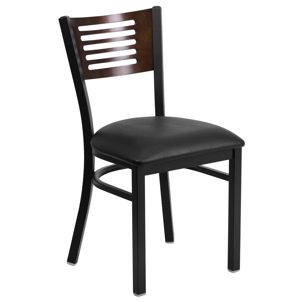 HERCULES Series Black Slat Back Metal Restaurant Chair - Walnut Wood Back, Black Vinyl Seat