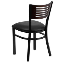Load image into Gallery viewer, HERCULES Series Black Slat Back Metal Restaurant Chair - Walnut Wood Back, Black Vinyl Seat