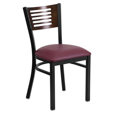 HERCULES Series Black Slat Back Metal Restaurant Chair - Walnut Wood Back, Burgundy Vinyl Seat