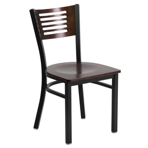 HERCULES Series Black Slat Back Metal Restaurant Chair - Walnut Wood Back & Seat