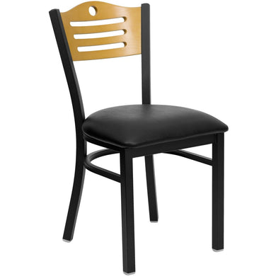 HERCULES Series Black Slat Back Metal Restaurant Chair - Natural Wood Back, Black Vinyl Seat