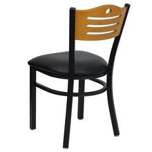 Load image into Gallery viewer, HERCULES Series Black Slat Back Metal Restaurant Chair - Natural Wood Back, Black Vinyl Seat