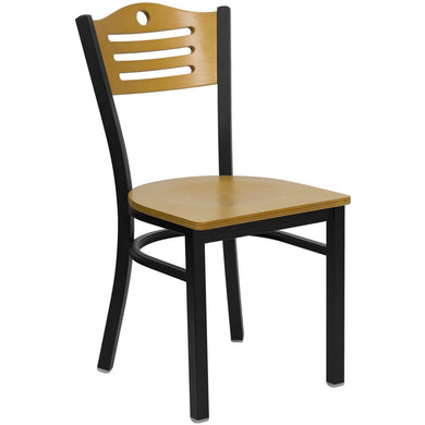 HERCULES Series Black Slat Back Metal Restaurant Chair - Natural Wood Back & Seat