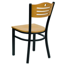 Load image into Gallery viewer, HERCULES Series Black Slat Back Metal Restaurant Chair - Natural Wood Back & Seat