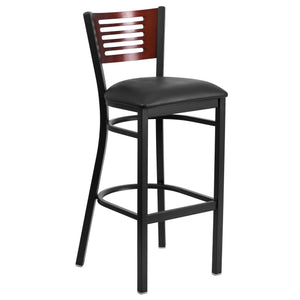 HERCULES Series Black Slat Back Metal Restaurant Barstool - Mahogany Wood Back, Black Vinyl Seat