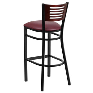 HERCULES Series Black Slat Back Metal Restaurant Barstool - Mahogany Wood Back, Burgundy Vinyl Seat