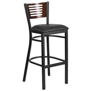HERCULES Series Black Slat Back Metal Restaurant Barstool - Walnut Wood Back, Black Vinyl Seat