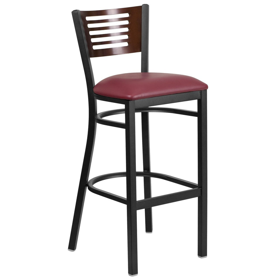 HERCULES Series Black Slat Back Metal Restaurant Barstool - Walnut Wood Back, Burgundy Vinyl Seat