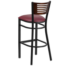 Load image into Gallery viewer, HERCULES Series Black Slat Back Metal Restaurant Barstool - Walnut Wood Back, Burgundy Vinyl Seat