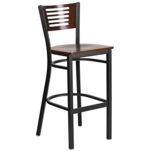 HERCULES Series Black Slat Back Metal Restaurant Barstool - Walnut Wood Back & Seat