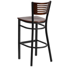 Load image into Gallery viewer, HERCULES Series Black Slat Back Metal Restaurant Barstool - Walnut Wood Back & Seat