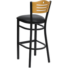 Load image into Gallery viewer, HERCULES Series Black Slat Back Metal Restaurant Barstool - Natural Wood Back, Black Vinyl Seat