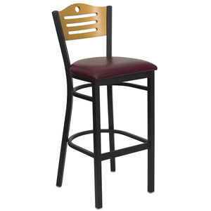HERCULES Series Black Slat Back Metal Restaurant Barstool - Natural Wood Back, Burgundy Vinyl Seat