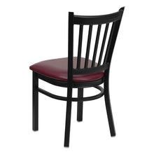 Load image into Gallery viewer, HERCULES Series Black Vertical Back Metal Restaurant Chair - Burgundy Vinyl Seat