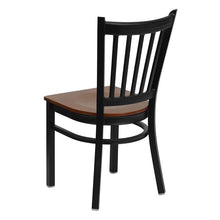 Load image into Gallery viewer, HERCULES Series Black Vertical Back Metal Restaurant Chair - Cherry Wood Seat