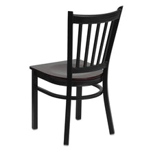 Load image into Gallery viewer, HERCULES Series Black Vertical Back Metal Restaurant Chair - Mahogany Wood Seat