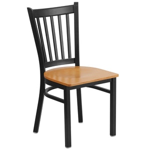 HERCULES Series Black Vertical Back Metal Restaurant Chair - Natural Wood Seat