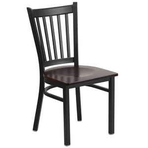 HERCULES Series Black Vertical Back Metal Restaurant Chair - Walnut Wood Seat