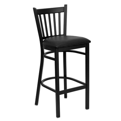 HERCULES Series Black Vertical Back Metal Restaurant Barstool - Black Vinyl Seat