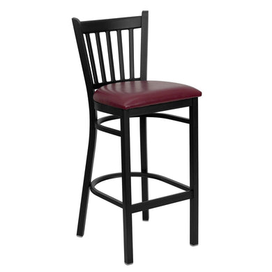 HERCULES Series Black Vertical Back Metal Restaurant Barstool - Burgundy Vinyl Seat