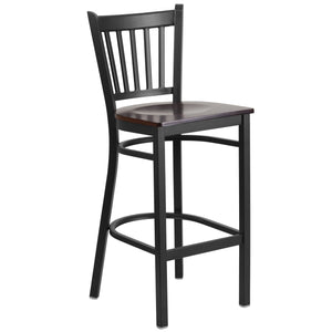 HERCULES Series Black Vertical Back Metal Restaurant Barstool - Walnut Wood Seat