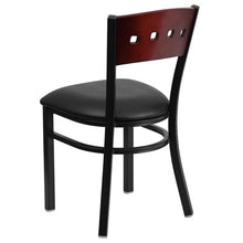 Load image into Gallery viewer, HERCULES Series Black 4 Square Back Metal Restaurant Chair - Mahogany Wood Back, Black Vinyl Seat