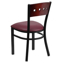 Load image into Gallery viewer, HERCULES Series Black 4 Square Back Metal Restaurant Chair - Mahogany Wood Back, Burgundy Vinyl Seat