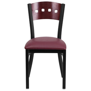 HERCULES Series Black 4 Square Back Metal Restaurant Chair - Mahogany Wood Back, Burgundy Vinyl Seat
