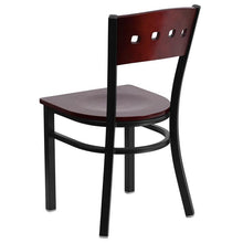 Load image into Gallery viewer, HERCULES Series Black 4 Square Back Metal Restaurant Chair - Mahogany Wood Back & Seat