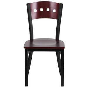 HERCULES Series Black 4 Square Back Metal Restaurant Chair - Mahogany Wood Back & Seat