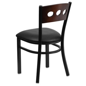 HERCULES Series Black 3 Circle Back Metal Restaurant Chair - Walnut Wood Back, Black Vinyl Seat