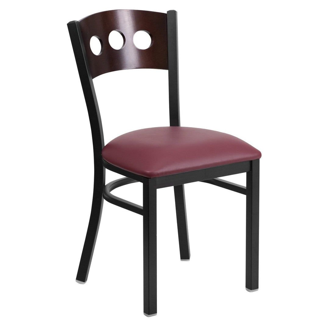 HERCULES Series Black 3 Circle Back Metal Restaurant Chair - Walnut Wood Back, Burgundy Vinyl Seat