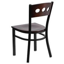 Load image into Gallery viewer, HERCULES Series Black 3 Circle Back Metal Restaurant Chair - Walnut Wood Back & Seat