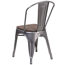 Load image into Gallery viewer, Clear Coated Metal Stackable Chair with Wood Seat